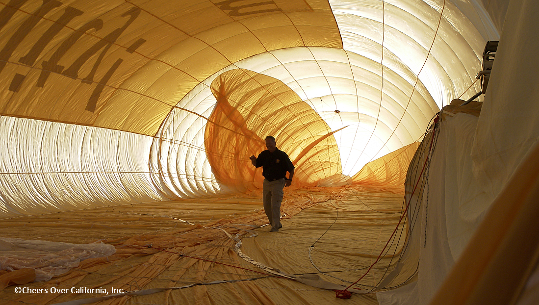 David Wakefield inspecting the inside of his GEFA-FLUG Airship